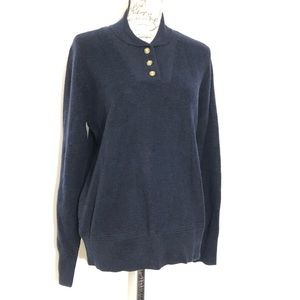 Long Sleeve Military Knit Pullover Navy Sweater XL